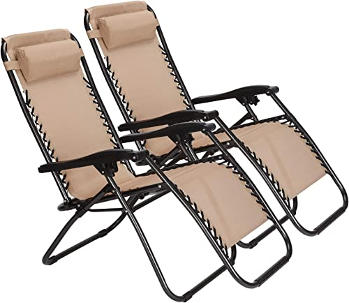 Zero Gravity Outdoor Lounge Chairs Patio Adjustable Folding Reclining Chairs Beach Chairs with Cup/Drink Utility Tray & Phone Holder (2 Pieces Chairs)