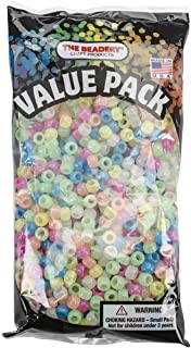Beadery Pony Beads, 6 by 9mm, Glow Multicolor, 900-Pack