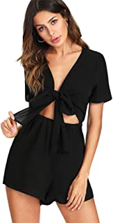 Women's Sexy V Neck Self Tie Front Short Romper Jumpsuit...