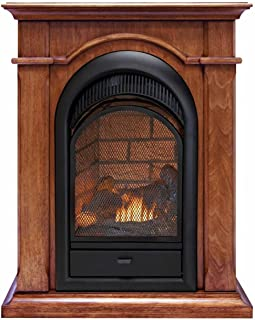 Duluth Forge Dual Fuel Ventless Fireplace With Mantel - 15,000 BTU, T-Stat, Apple Spice Mantel