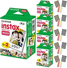 FujiFilm Instax Mini Instant Camera Film: White (5 Packs: 100 Film Sheets) + Bundle with 15 Sheets of Self-Adhesive Photo Corners | Compatible with Mini 9, Mini 8, Mini 25, Mini 90, Fuji SP-1, SP-2