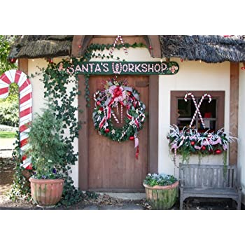 Leowefowa Indoor Christmas Backdrop for Photography 12x8ft Vinyl Snowfield Opened White Door Wreath Indoor Floor Gifts Wood Floor Background Child Adult Photo Shoot Christmas Party Banner Photo Prop