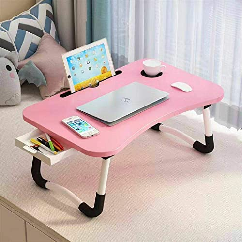 DK HOME APPLIANCES Foldablelaptop Table Multi Function Study Lapdesk Table For Bed Breakfast With Cup Slot Pink