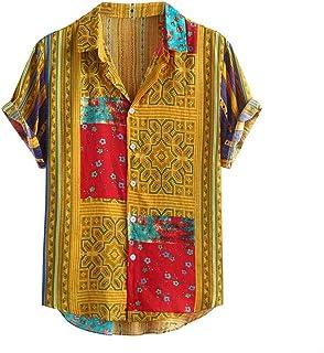 LADYSHOP قميص رجالي قصير الأكمام قميص هاواي علوي كاجوال بأزرار حتى تي شيرت أنيق