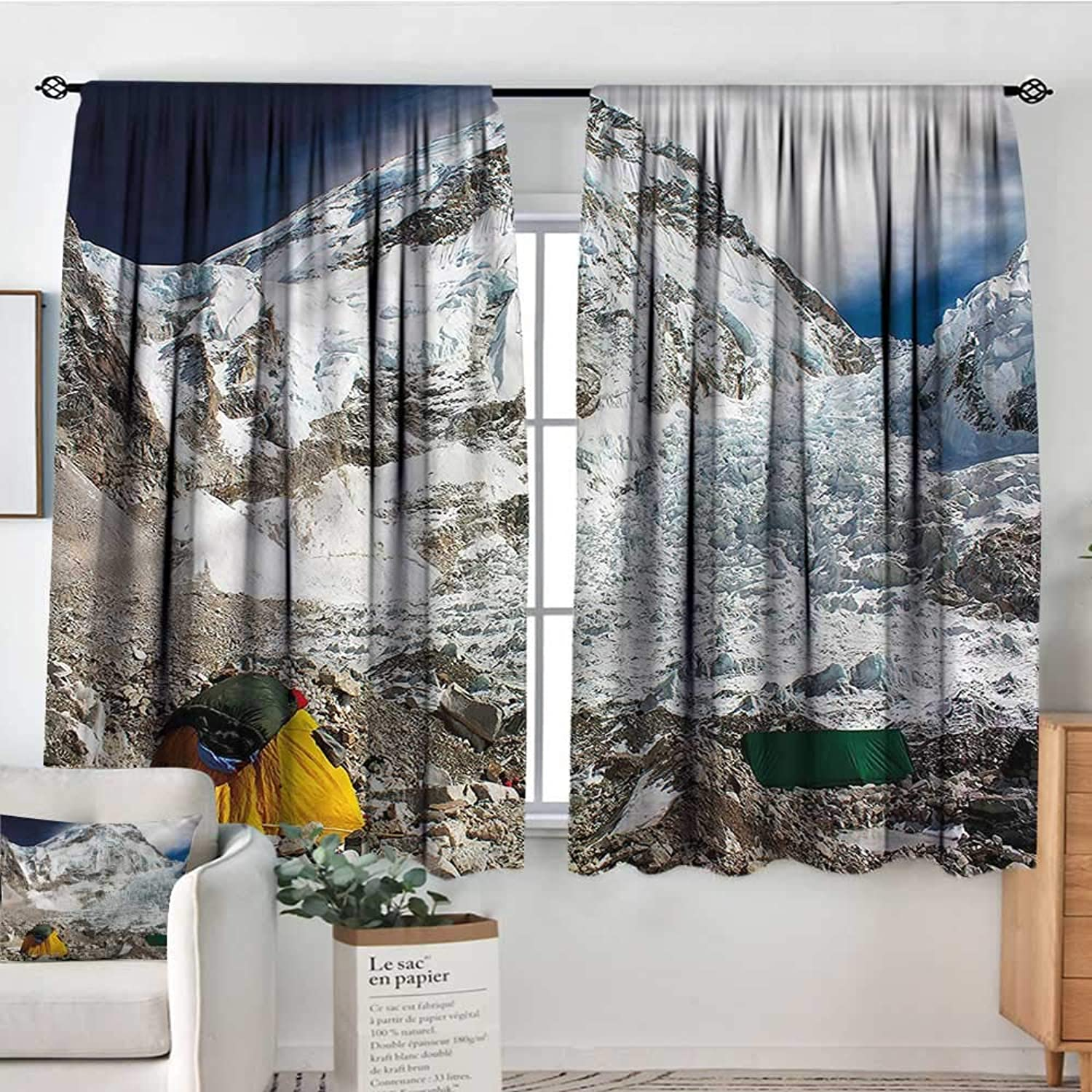 Camper,Print Decor Curtains Snowy Mountain Everest Peak 52 x63  Drapes for Girs Iving Room