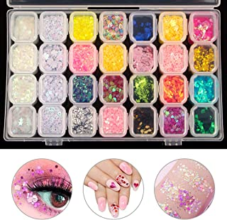 28 Boxes Nail Art Decoration Glitter Dust Powder Paillette Sequins with Craft Containers