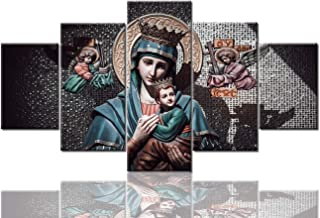 TUMOVO Religious Wall Art for Living Room Virgin Mary with Child Jesus Pictures Paintings 5 Panel Canvas Contemporary Artwork Home Decorations Giclee Framed Gallery-Wrapped Ready to Hang(60''Wx32''H)