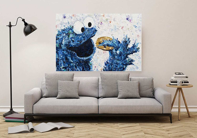 Kay Schleusner Lecker Kekse - 120 x 80 cm Kunstdruck Druck auf Leinwand Pop Art Kinderzimmer Keilrahmen bespannt XXL Monster Poster