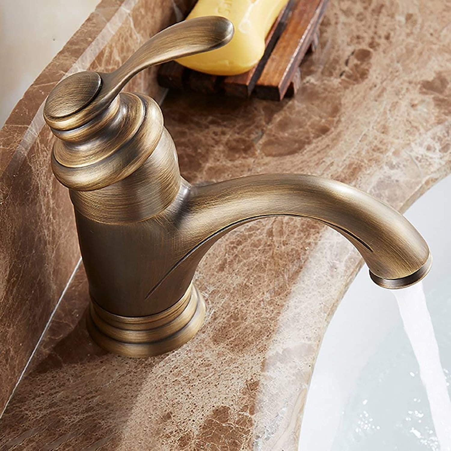 JZX Copper Basin Faucet, European Antique Single Hole Hot and Cold Water Faucet, Bathroom Cabinet gold Faucet,Short,