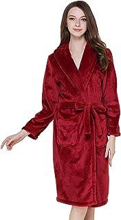 9c1fe74e11554 FEOYA Unisexe Robe de Chambre Femme Homme Polaire Peignoir de Bain Flanelle  Chaud Doux Vêtement de