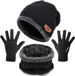 Maylisacc Winter Knit Beanie Hat Neck Warmer Loop Scarf Texting Gloves Set 2/3 Pcs Fleece Lined for Men Women Skull Cap