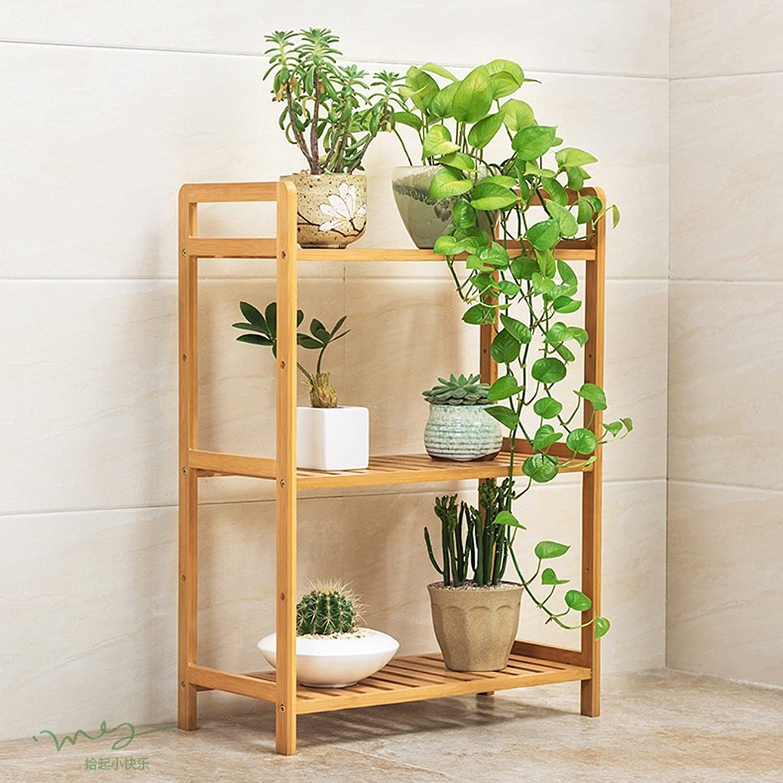 NYDZDM Solid Wooden Shelf Multi-Layer Indoor Outdoor Floor Flower Pot Rack Balcony Shelf (Size   Size35  25  71cm)