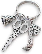 Schaar Thimble & Meetband Sleutelhanger Gift, Bedankt voor het onderwijzen Me Naaien Veel