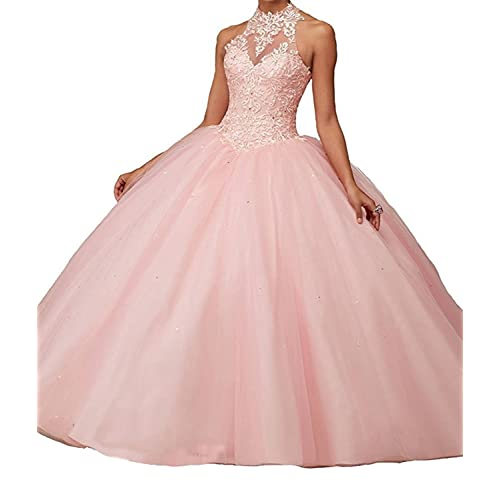 Jurong Womens Appliques High Neck Beads Long Pageant Quinceanera Dresses