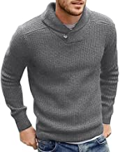 Runcati Mens Sweaters Shawl Collar Slim Fit Pullover Fall Winter Casual Knit Ribbed Coat