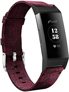 hooroor Canvas Woven Bands Compatible for Fitbit Charge 3 and Charge 3 SE Fitness Activity Tracker, Soft Breathable Fabric...