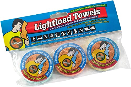 Lightload Towels Compressed Wash Cloth Hand/Face Disposable Washable Non Microfiber Quick Dry Pack Camp Travel Towel ...