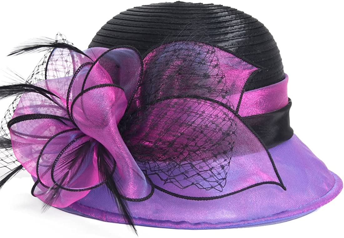 VECRY Lady Derby Dress Church Cloche Hat Bow Bucket Wedding Bowler Hats (Two-Tone-Blue) at  Women's Clothing store