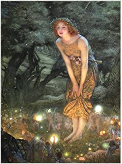 Zeckos Midsummers Eve Fairy Art LED Accent Printed Canvas Wall Hanging