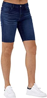 ZLZ Slim Jean Short for Men, Men's Casual Stretch Slim Fit Denim Short