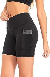 DEAR SPARKLE Shorts 2.5 Pockets Women 5-inch Yoga Leggings Workout Athletic Pants + High Waisted Short (S15)