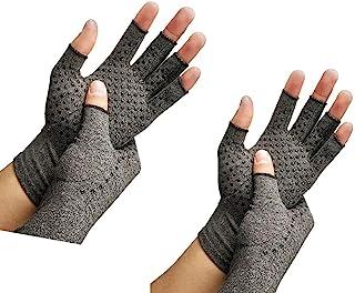RZJZGZ Compressie Artritis Handschoenen Vingerloze Handschoenen voor Artritis Reumatoïde & Artrose Verhogen Circulatie Verminderen Pijn Mannen & Vrouwen Open Vinger M