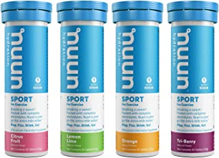 Nuun Sport: Electrolyte Drink Tablets, Citrus Berry Mixed Box, 4 Tubes (40 Servings)