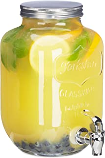 Relaxdays Dispensador de Bebidas con Grifo, Cristal, Vintage, Expendedor de refrescos, 3,5 L, Transparente, 25.50 x 15.00 x 18.00 cm