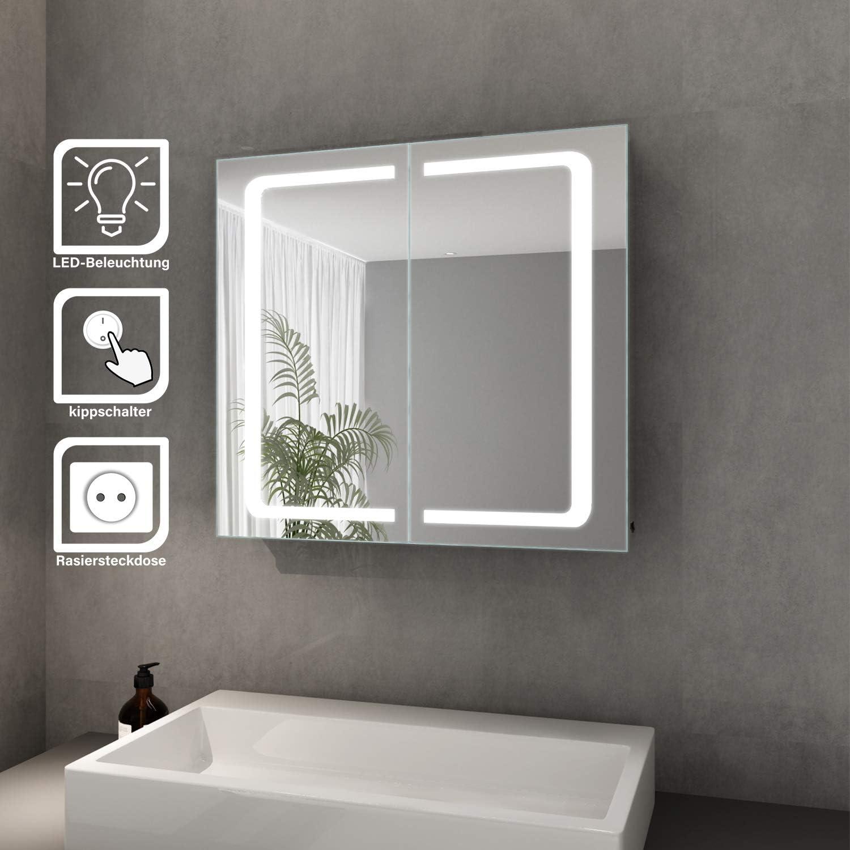Elegant Bad Spiegelschrank mit Beleuchtung LED Licht Badezimmer  Spiegelschrank Bad Hängeschrank mit Steckdose und Kippschalter 20 türig ...
