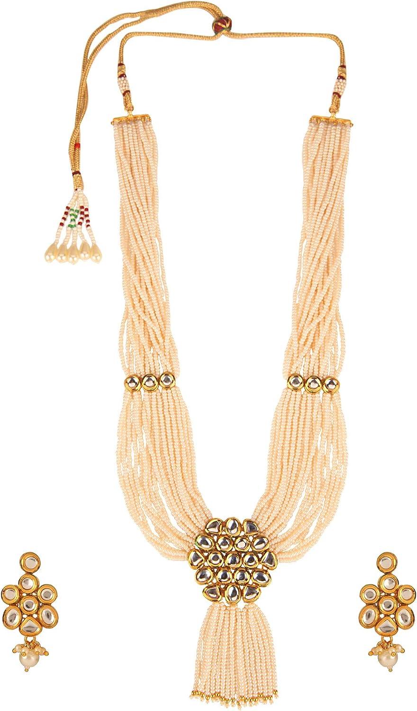 Efulgenz Indian Bollywood Multi Layered Premium Kundan Faux Pearl Bridal Wedding Floral Necklace Earrings Jewelry Set