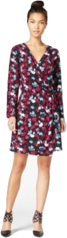 Bar III Womens Printed Wrap Dress multicolord XS
