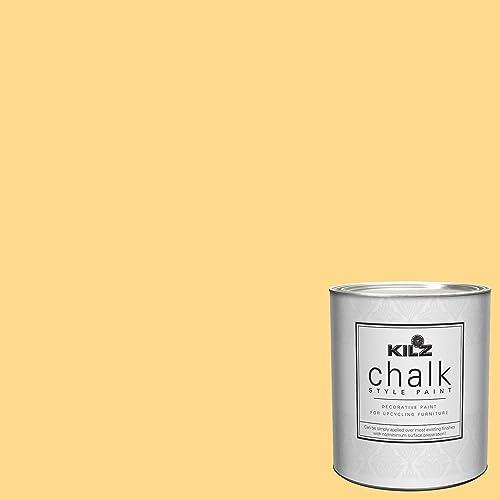 KILZ 00004604 Interior Chalk Style Ultra Flat Decorative Paint for Furniture, 1 Quart, Yellow Duckling