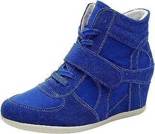 rismart Femmes Compensee Classique Confortable Mignon Boucle Suede&Tissu Baskets Mode Chaussures