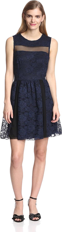 A.B.S. by Allen Schwartz Women's Lace Dress with Mesh Contrast, Navy, 10 US