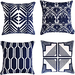 ALPHA HOME Embroidered Throw Pillow Covers Decorative Cushion Covers 18 x 18 inch, Set of 4, Navy
