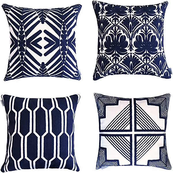 ALPHA HOME Embroidered Throw Pillow Covers Decorative Cushion Covers 18 X 18 Inch Set Of 4 Navy