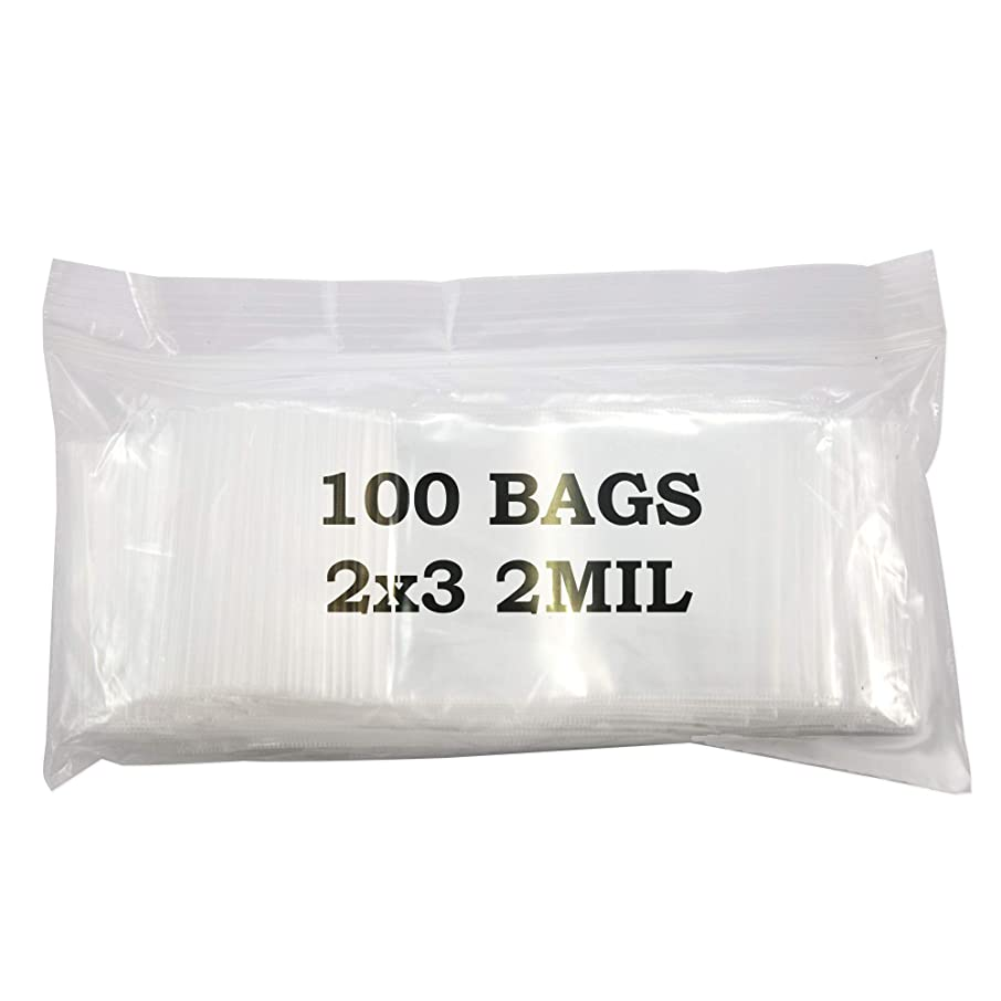 Jewelry Displays & Boxes 2x3 Plastic Zip Top Bags (Package of 100) Resealable Zipper Poly Bags