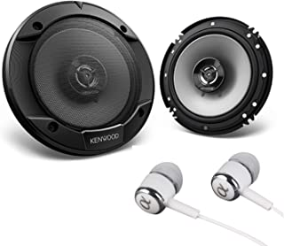 "Kenwood 6-1/2"" 300W Max (60W RMS per Pair) 6.5"" KFC 2-Way Sport Series Flush Mount Car Audio Door Coaxial Speakers Bundled with Alphasonik Earbuds"