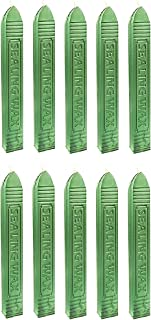 UNIQOOO Arts & Crafts Pack of 10 Glossy Botanical Green Sealing Wax Sticks with Wick for Wax Seal Stamp, Great for Embellishment of Cards Envelopes, Wedding Invitations, Wine Packages