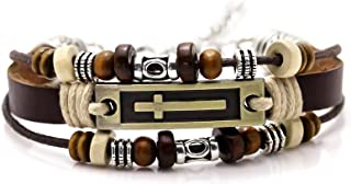 Xusamss Hip Hop Alloy Cross Tag Bangle Wood Bead Pu Leather Link Bracelet,7-9inches