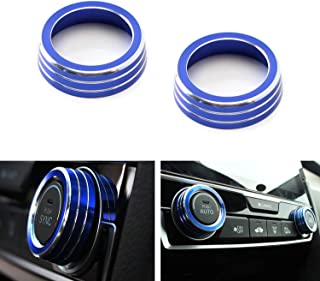 iJDMTOY 2pcs Blue Anodized Aluminum AC Climate Control Ring Knob Covers for 2016-up 10th Gen Honda Civic