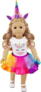ibayda 3pc/Set Unicorn Doll Clothes Includes Rompers,Headband,Tutu for 18 inch American Girl,Our Generation Dolls, Birthday Gift for Kids