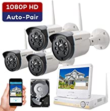 ONWOTE 1080P Full HD Wireless Security Camera System with 10.1