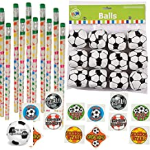 Clear Canyons Soccer Party Favors - 12 Soccer Pencils, 12 Mini Soccer Balls, 72 Soccer Tattoos and Soccer Happy Birthday Sticker (1 Set)