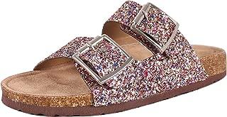 Womens Open Toe Double Buckle Glitter Slide Flat Sandal Flip Flops Slipper Shoes