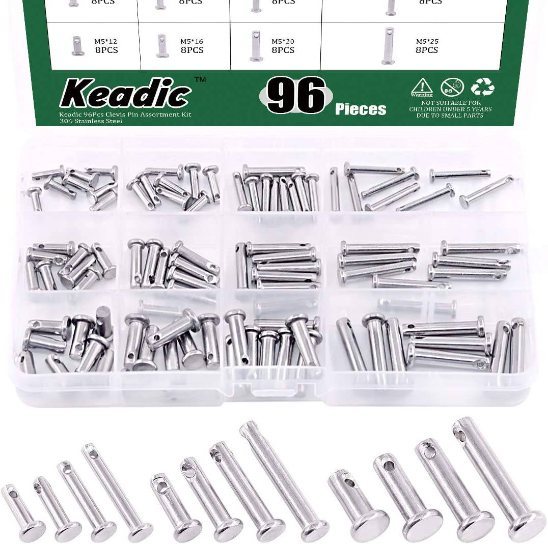 Keadic 97Pcs 70% OFF Outlet Sales 304 Stainless Steel Clevis M3 Kit Assortment M4 Pin