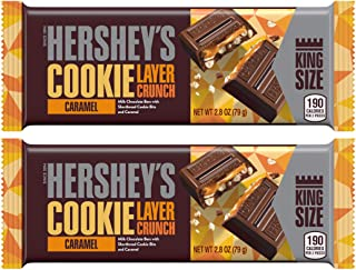 Hershey's (2) Candy Bars Cookie Layer Crunch Caramel - Milk Chocolate Bars with Shortbread Cookie Bits and Caramel - King Size Net Wt. 2.8 oz each