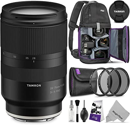 $899 Get Tamron 28-75mm f/2.8 Di III RXD Lens for Sony E Mount Cameras w/Advanced Photo and Travel Bundle (Tamron 6 Year Limited USA Warranty)