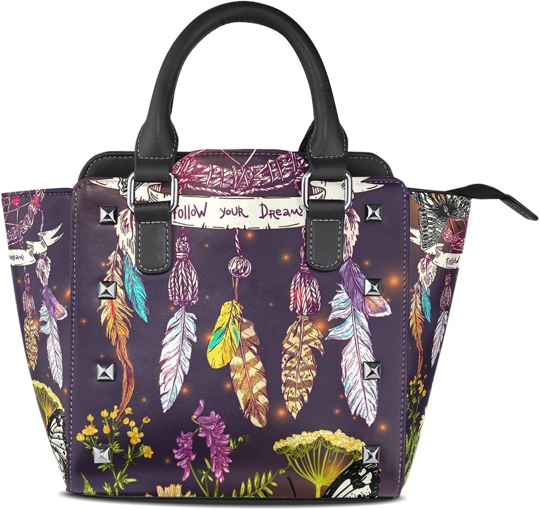 My Little Nest Women's Top Handle Satchel Handbag Beautiful Dream Catcher and Wildflowers Print Ladies PU Leather Shoulder Bag Crossbody Bag