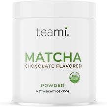 Teami Matcha Green Tea Powder - Chocolate Flavored - Ceremonial Grade - Authentic Japanese Origin - USDA Organic - 30g (1oz) Tin